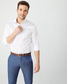 Slim Fit Navy geo dress shirt