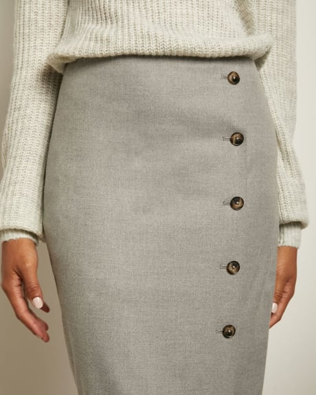 Grey Flannel High-Waist Pencil Skirt with Buttons