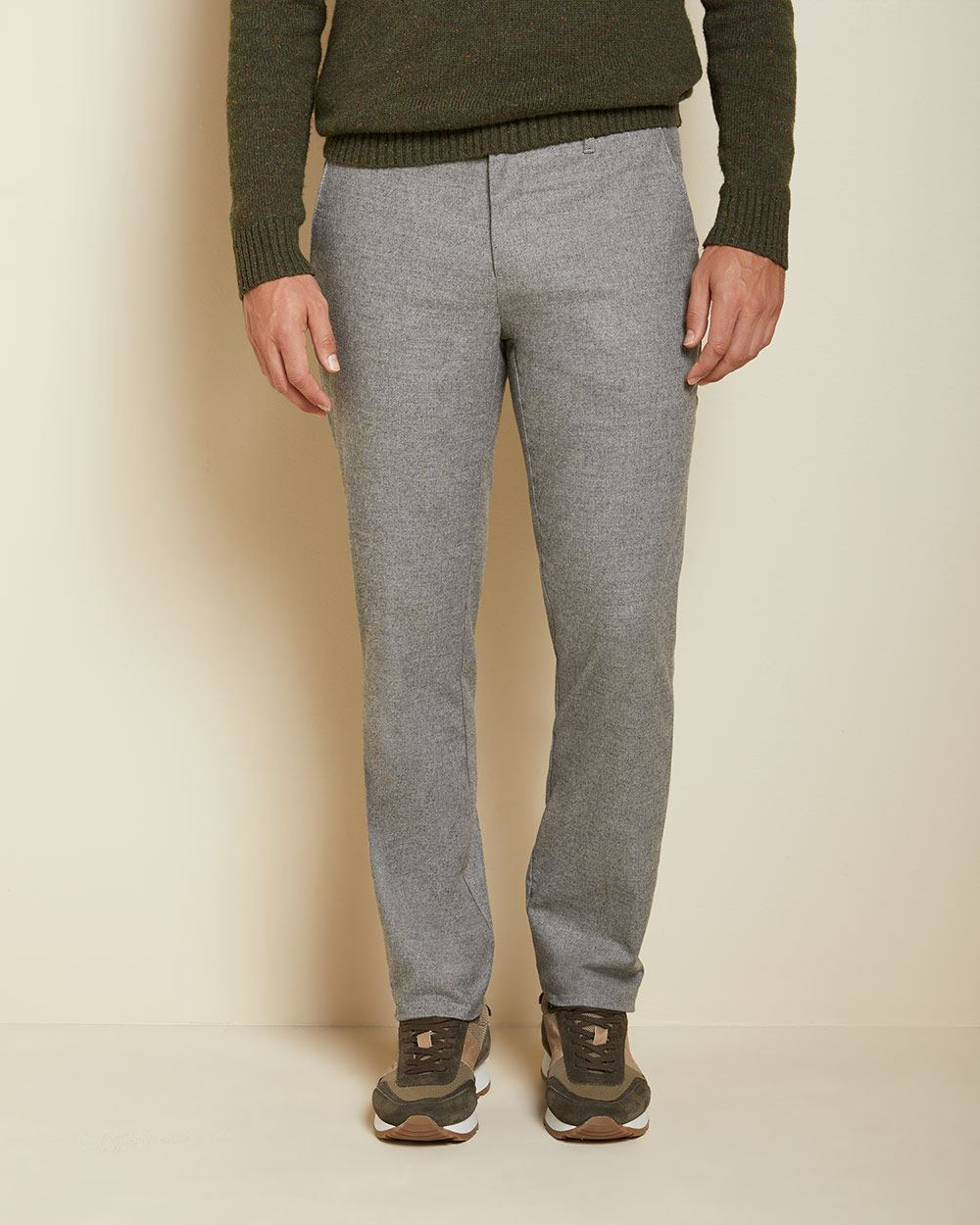 Slim fit slash pocket brushed twill pant