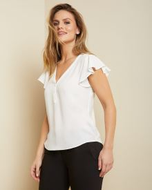 Mixed media buttoned V-neck t-shirt