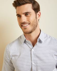 Slim Fit two-tone mosaic Dress Shirt
