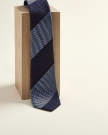Regular large blue stripe tie