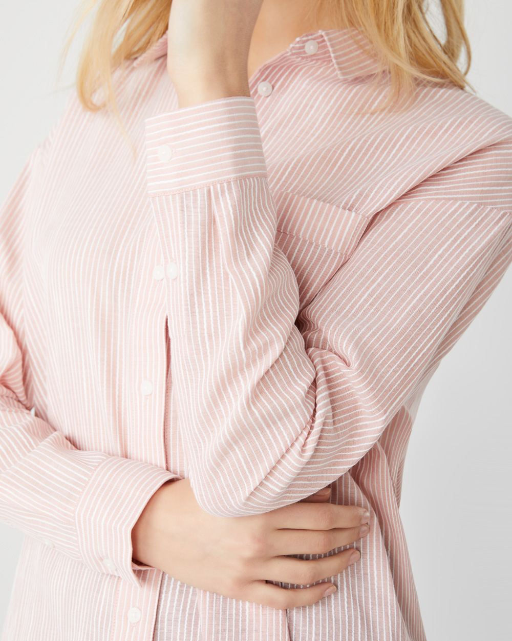 Striped button-down blouse