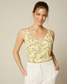 Silky Crepe Spaghetti Strap Shoulder Pleated Cami