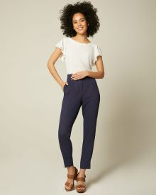 High-Waist Textured Tapered Leg Pant