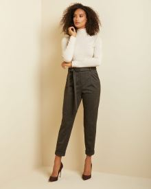 High-waist brown herringbone paper bag pant