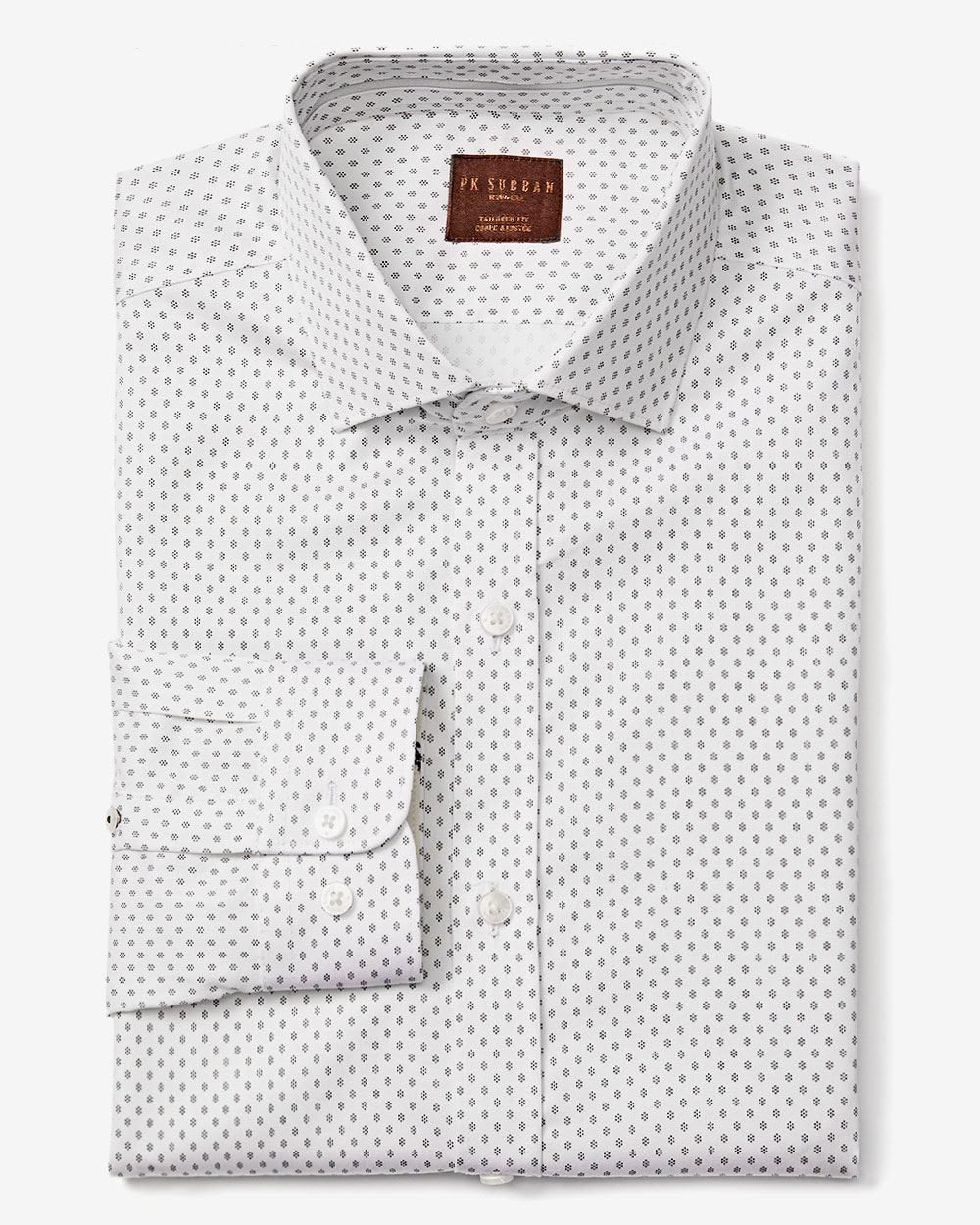 Pk subban tailored fit dotted dress shirt rw co for Tailored fit dress shirts