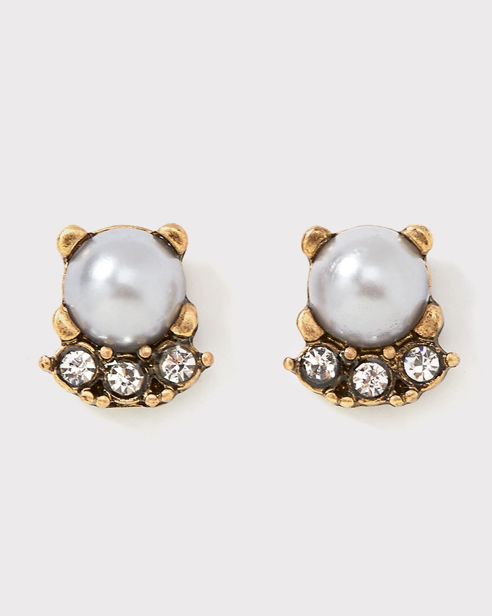 Pearl and glass stud earrings