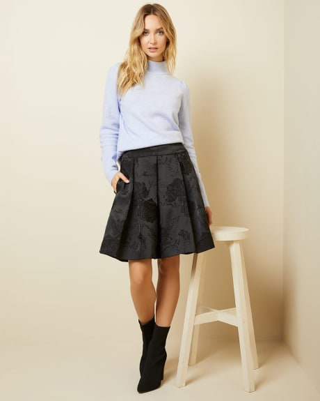 Jacquard High-waist pleated skirt