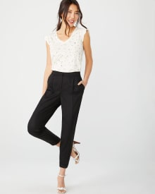 Flowy tencel ankle pant with cuff
