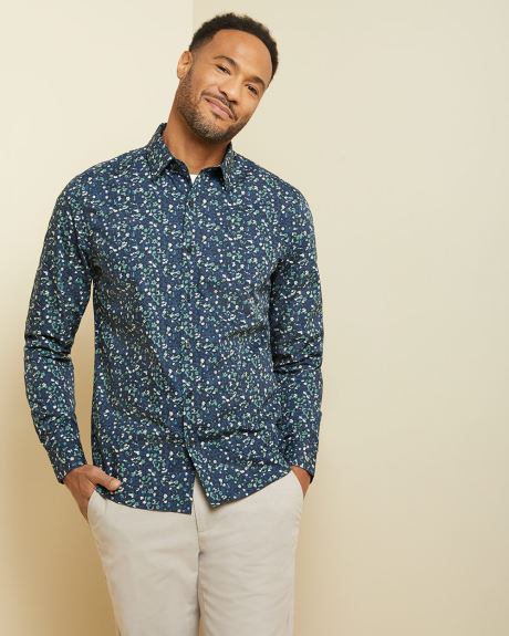 Tailored fit navy abstract floral shirt