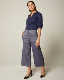 Chambray linen-blend high-waist cropped wide leg pant