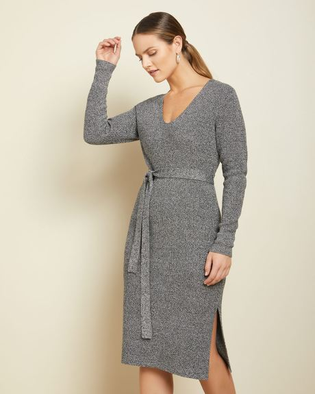 Straight fit belted sweater dress