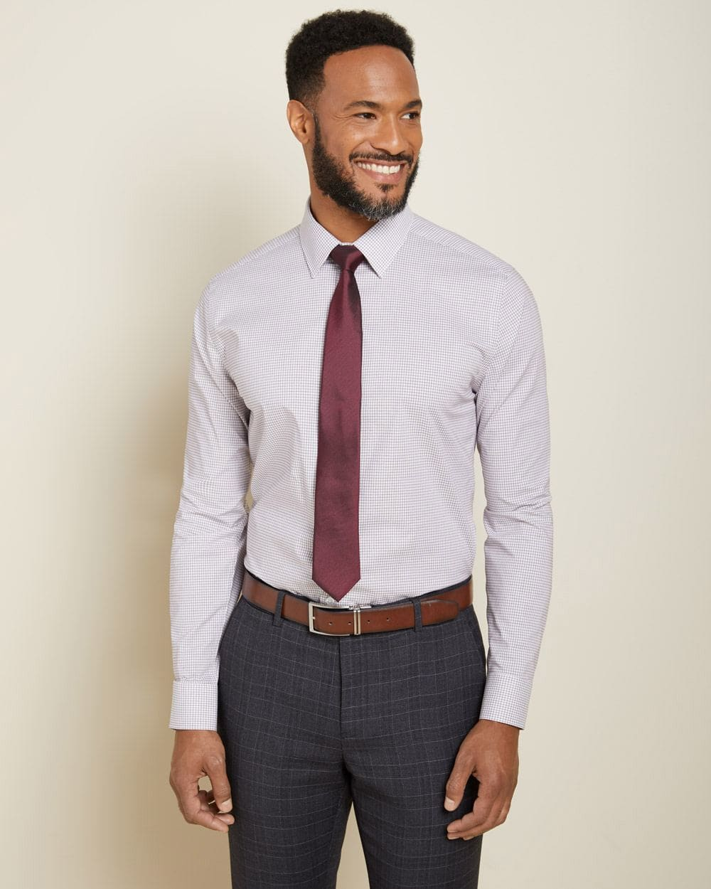 Tailored Fit checkered performance dress shirt