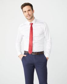 Tailored Fit Navy geo dress shirt