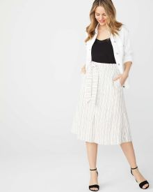 Striped linen-blend Flare skirt