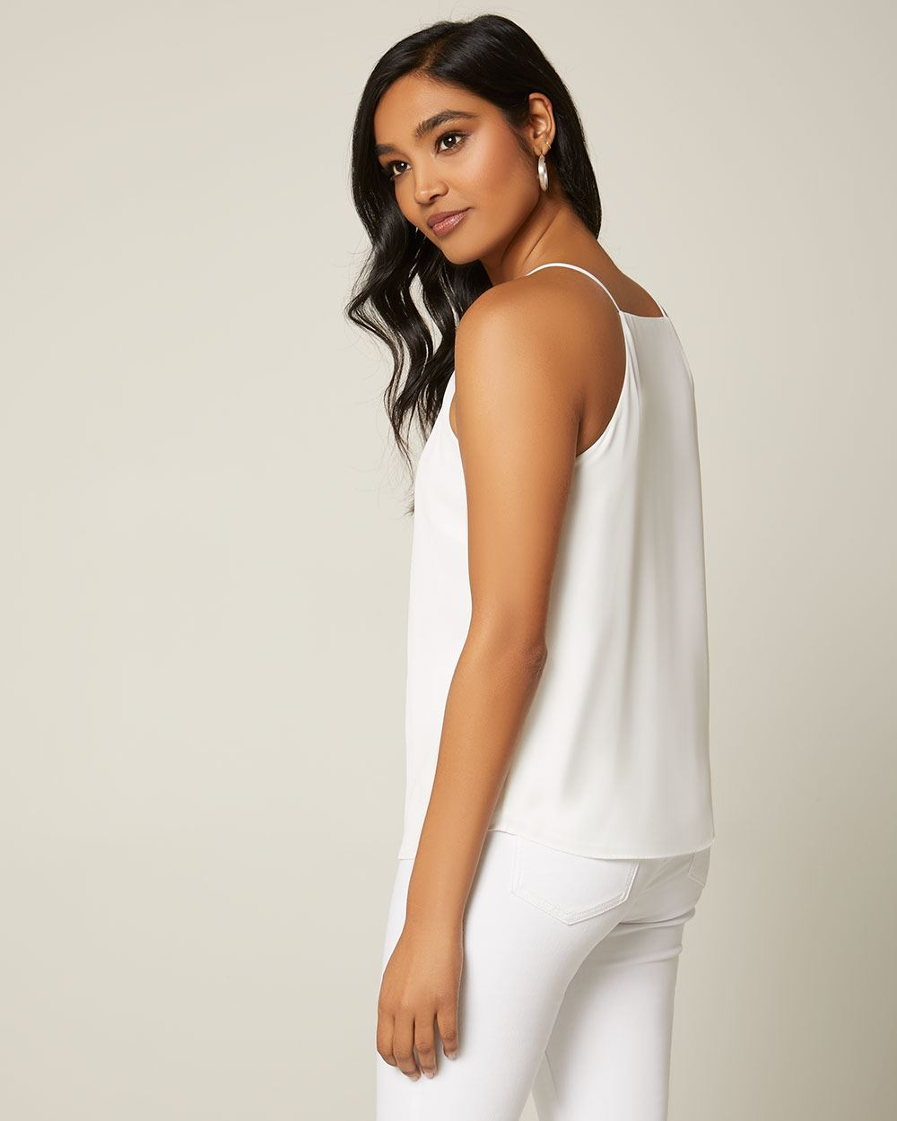 Silky Crepe Pleated halter-neck cami