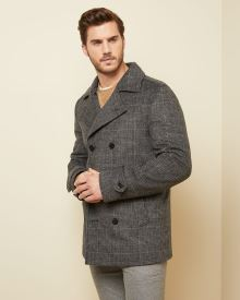 Double-breasted checkerd wool-blend peacoat