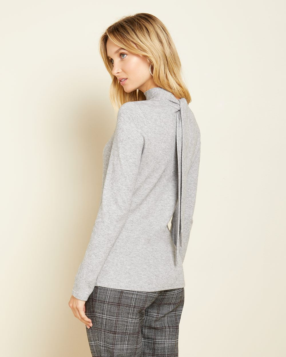 Brushed knit long sleeve t-shirt with tie mock-neck