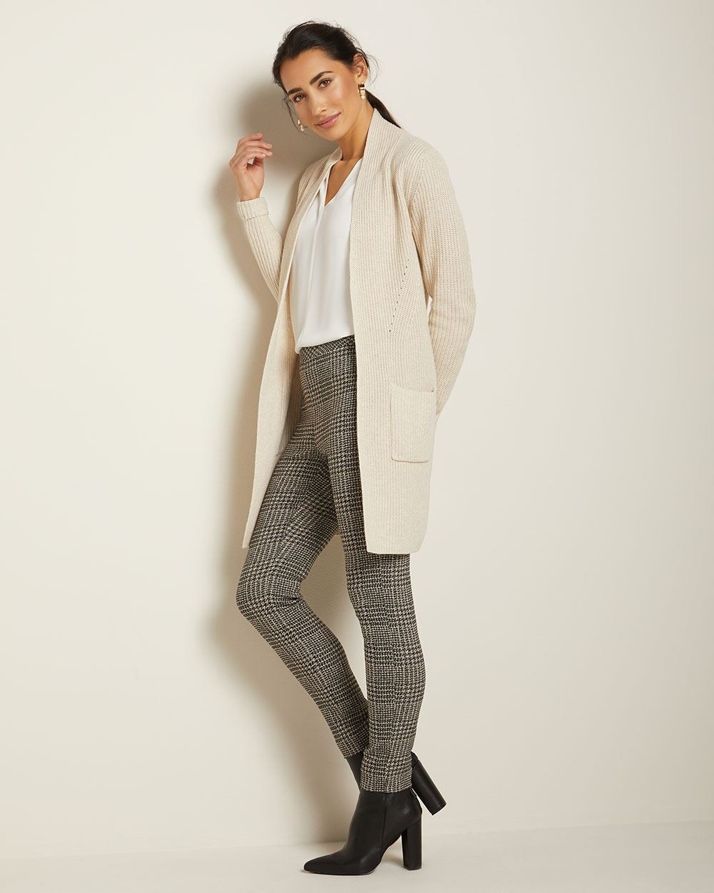C&G Ribbed Open-front cardigan with pockets