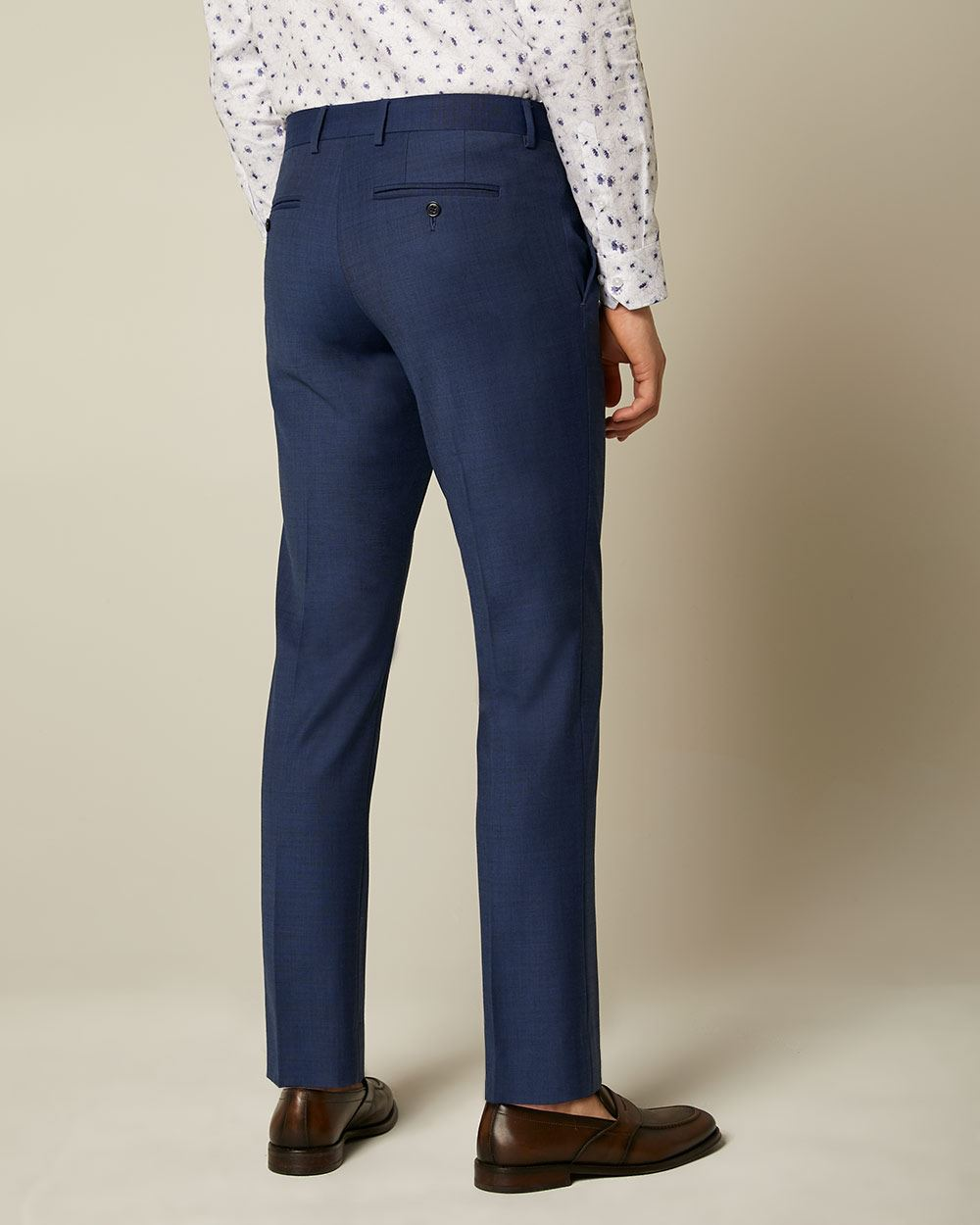 Essential Blue Wool-Blend Suit Pant