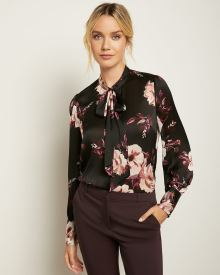 Silky Button-Down Blouse with Neck Tie