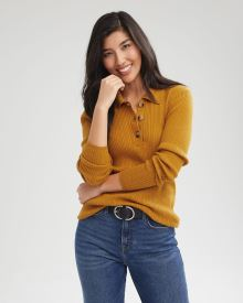 Cashmere-Like Polo Sweater