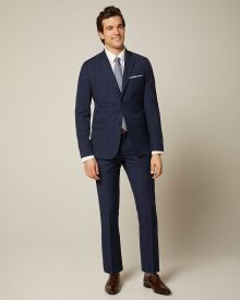 Tailored Fit navy check suit pant