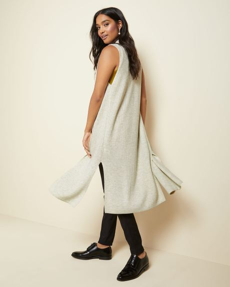 C&G Sleeveless rib knit duster cardigan