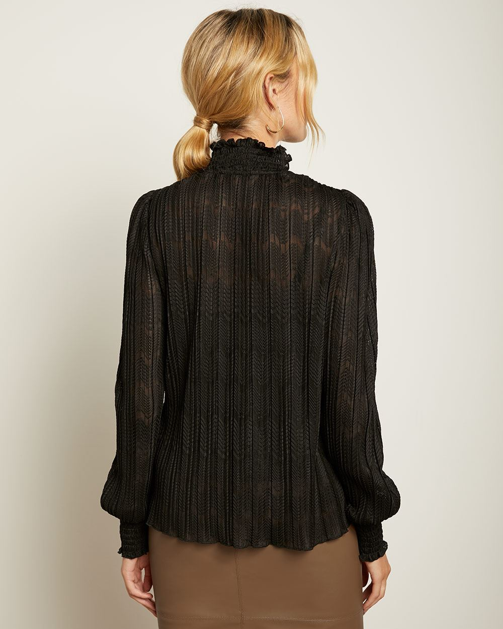 Long Sleeve Striped Lace Top