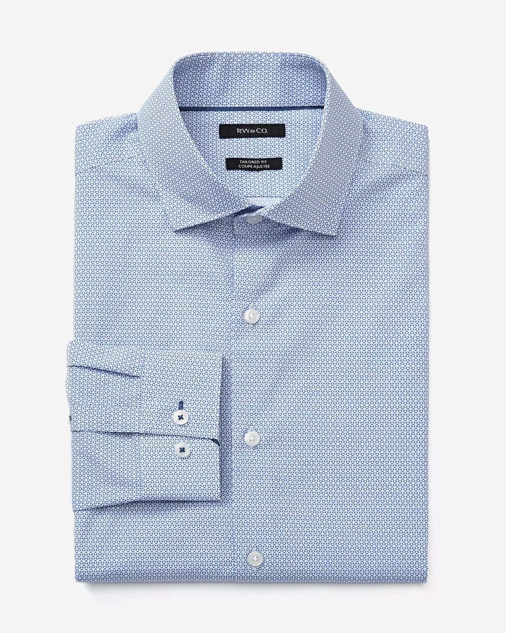 Tailored fit geo print dress shirt rw co for Tailoring a dress shirt