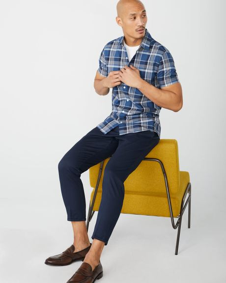 Slim Fit Short Sleeve blue check Shirt