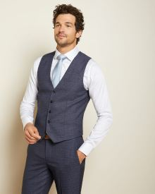 Slim Fit blue prince of wales suit vest
