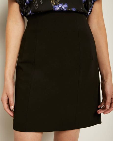 Black Twill High-Waist Mini Skirt