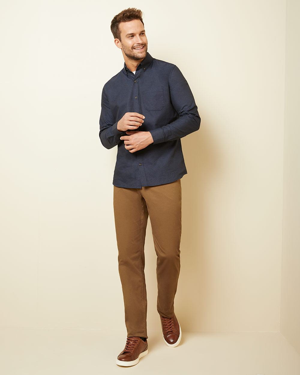 Tailored fit twisted yarn shirt