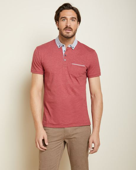 Short sleeve woven trim polo