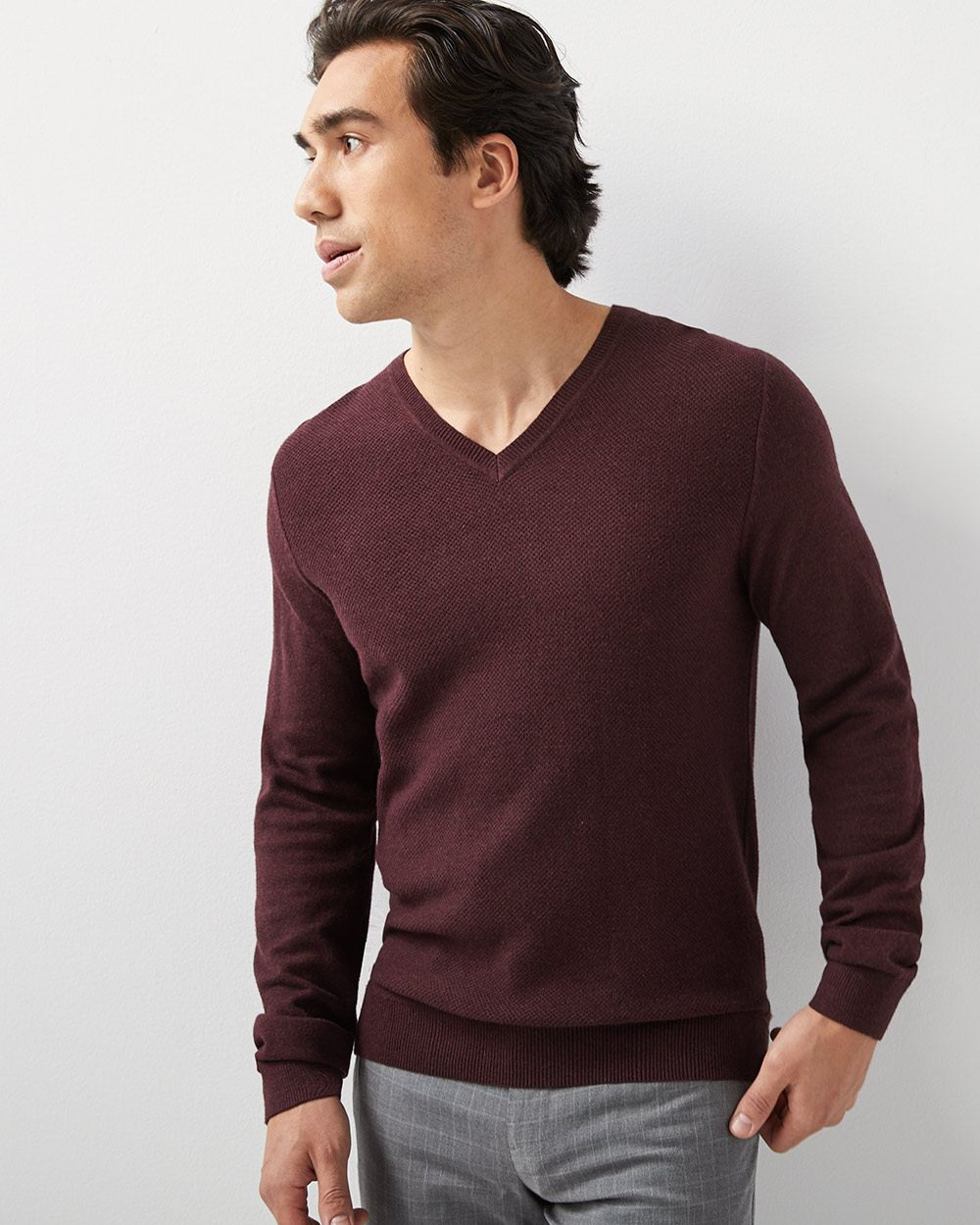 f98071a5028 Textured V-neck sweater
