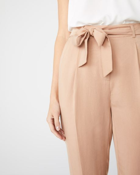 High-waist solid paper bag pant