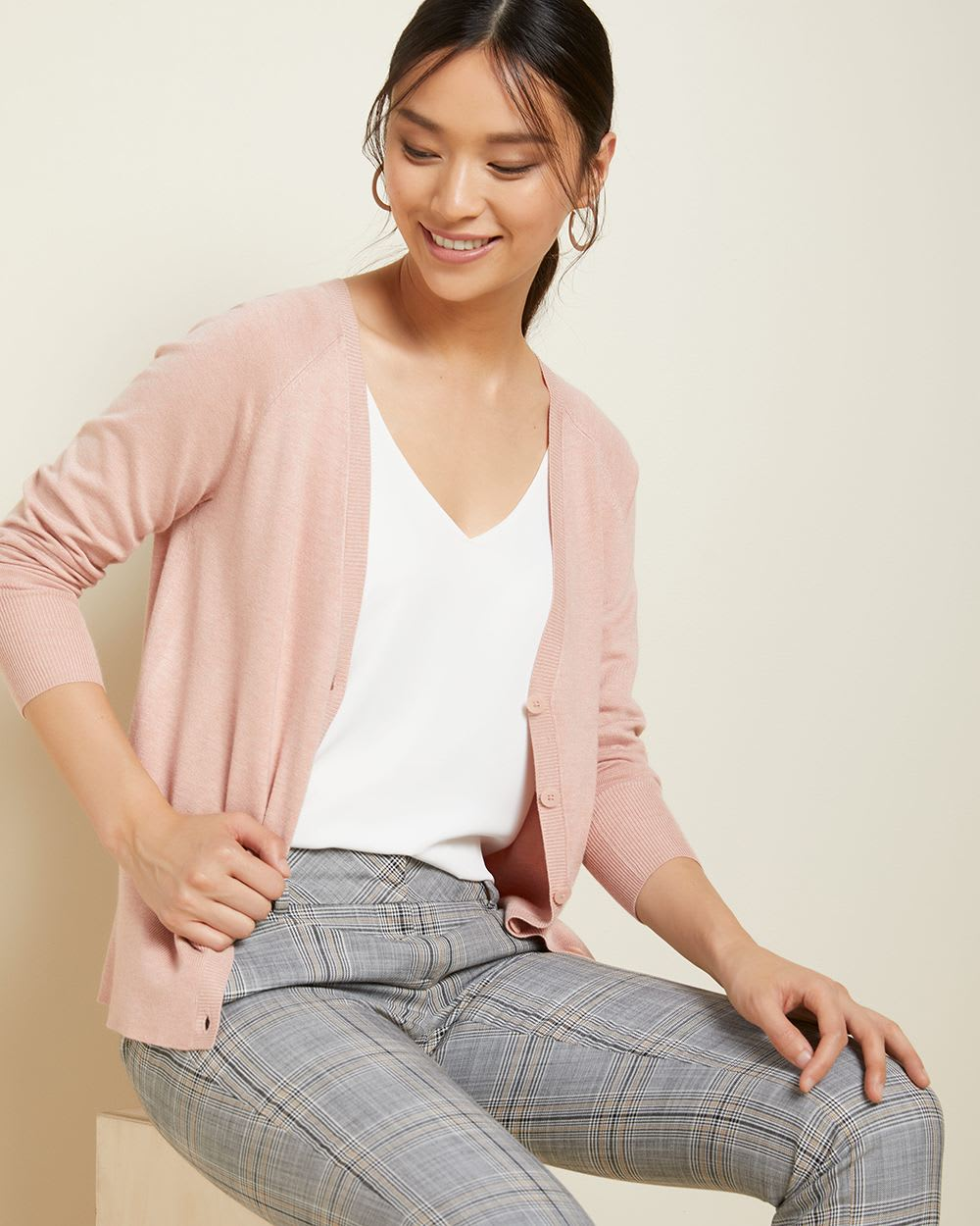 Pink Button-down cardigan