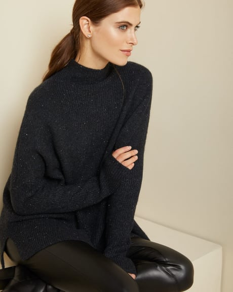 C&G Relaxed fit spongy knit funnel-neck sweater