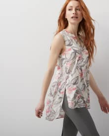C&G Sleeveless challis tunic blouse