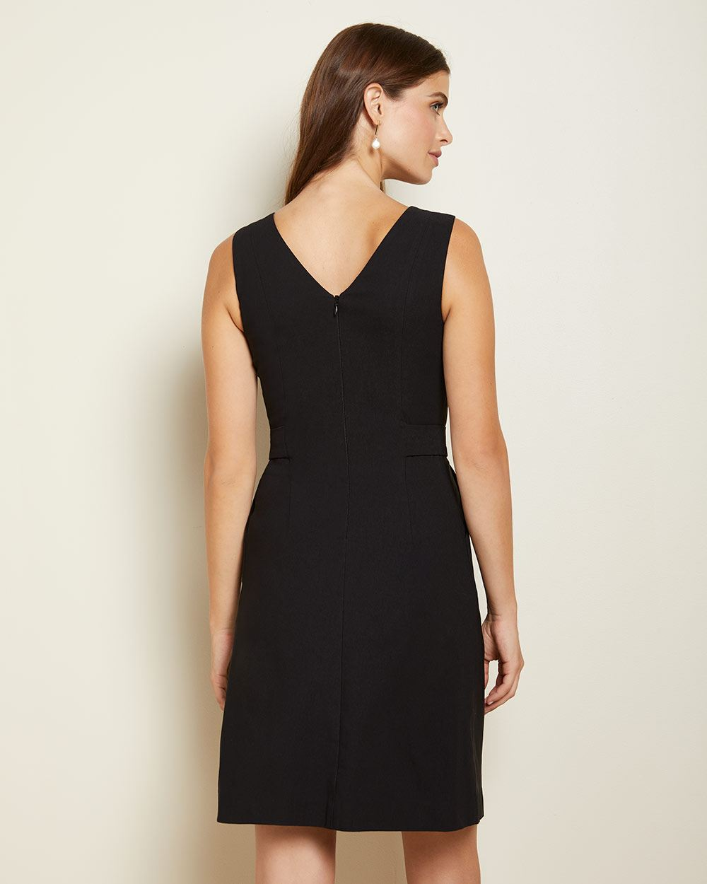Black Fit and flare city dress with buttoned waist