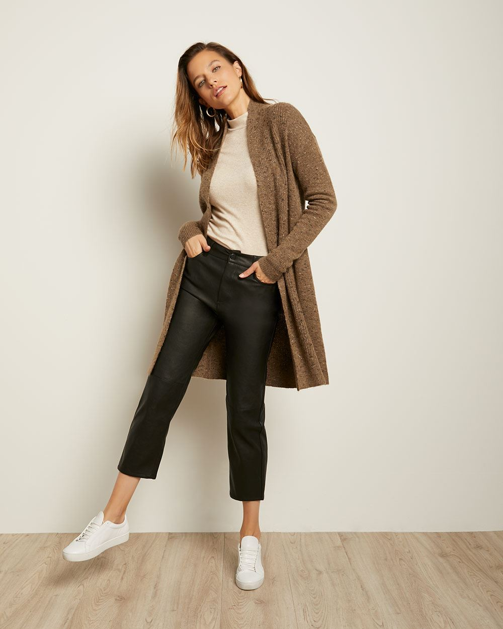 C&G Long Open-Front Cardigan with Shawl Collar