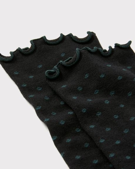 Bamboo-blend dotted socks with frilled cuff