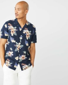 Tailored fit short sleeve tropical shirt