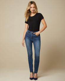 High-waisted skinny jeans in medium blue denim - 32''