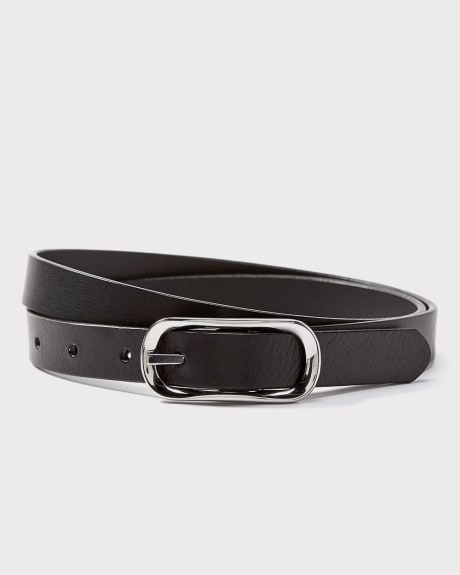 Thin leather belt with oval buckle