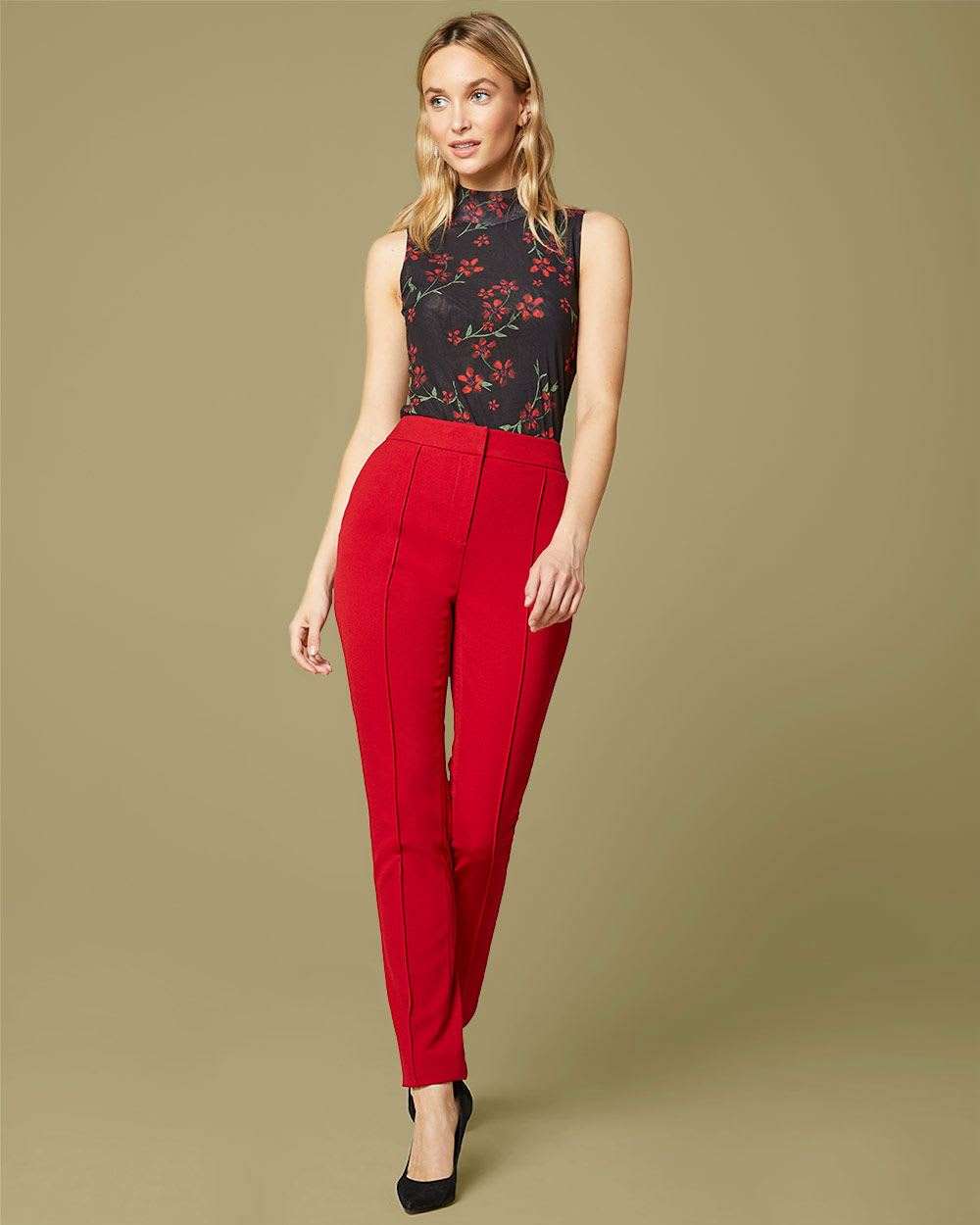 Stretch red High-waist Slim Leg Ankle Pant