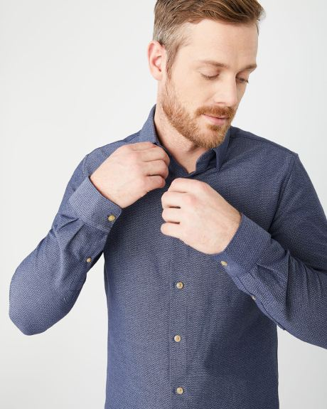Slim fit geo jacquard stretch shirt
