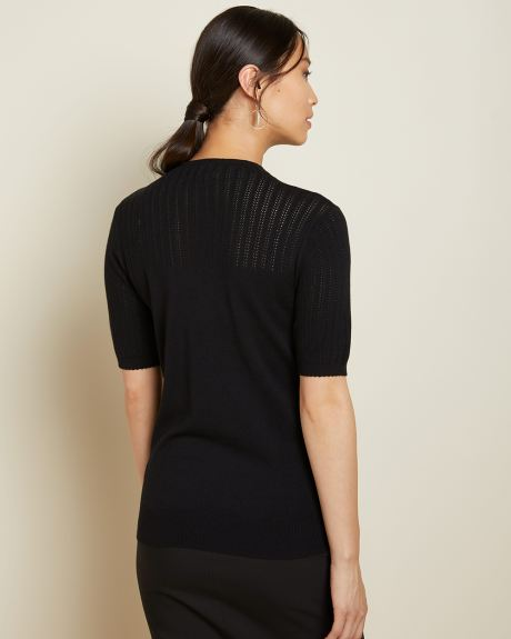 Mock-neck short sleeve sweater with pointelle